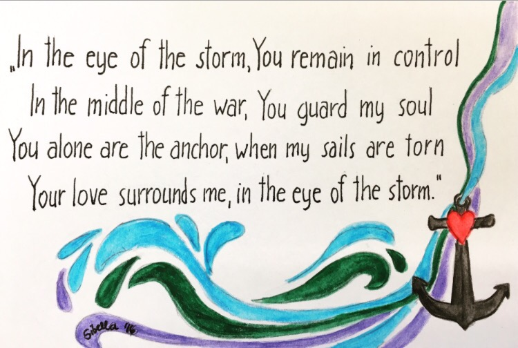 in the eye of the storm Eye of the storm is a song recorded by christian musician ryan stevenson for his 2015 studio album fresh start it peaked at number one on both the billboard hot christian songs and christian airplay charts, his first single to reach such feat.